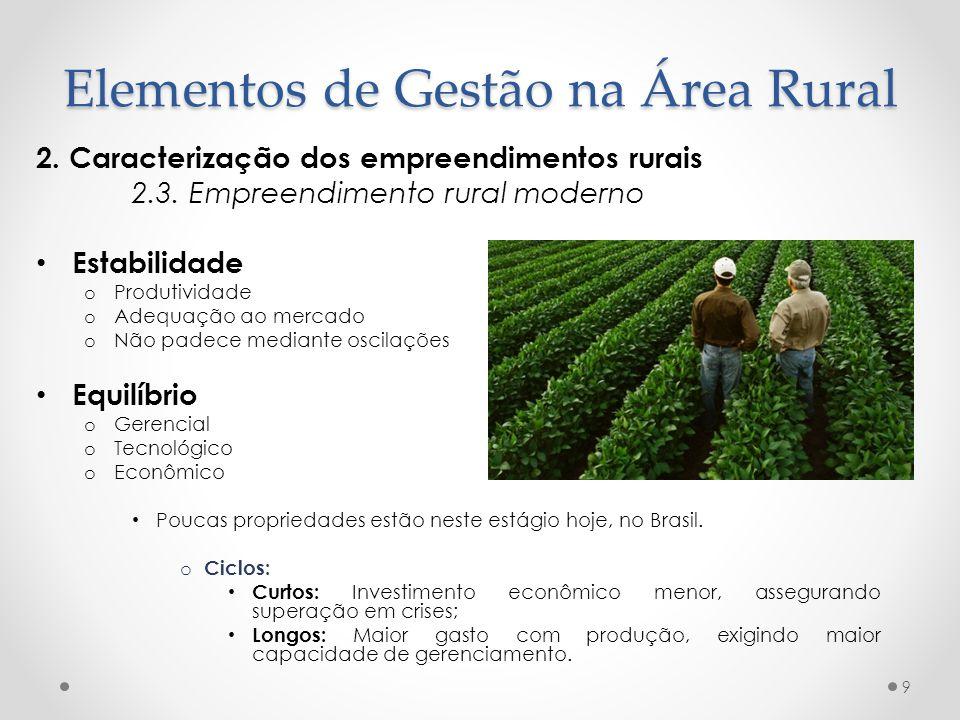 2. Caracterização dos empreendimentos rurais 2.3. Empreendimento rural moderno Estabilidade o Produtividade o Adequação ao mercado o Não padece median