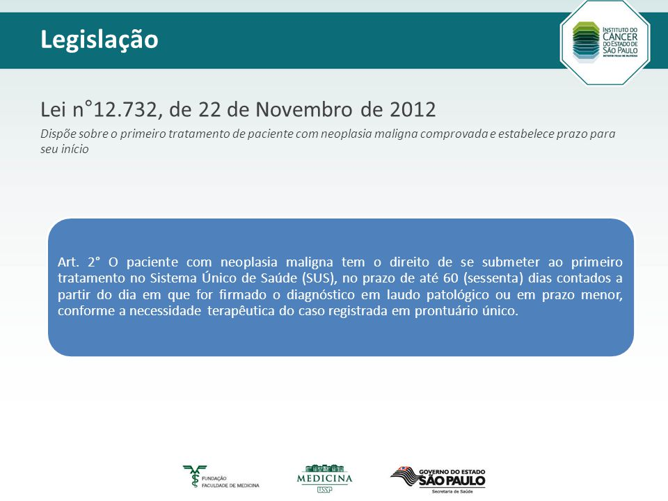 Título principal Modelo_2 Texto Legislação Lei n°12.732, de 22 de Novembro de 2012 Dispõe sobre o primeiro tratamento de paciente com neoplasia maligna comprovada e estabelece prazo para seu início Art.