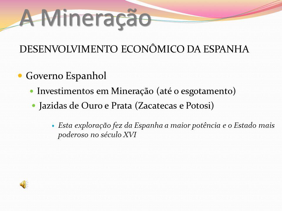 A Mineração DESENVOLVIMENTO ECONÔMICO DA ESPANHA Governo Espanhol Investimentos em Mineração (até o esgotamento) Jazidas de Ouro e Prata (Zacatecas e