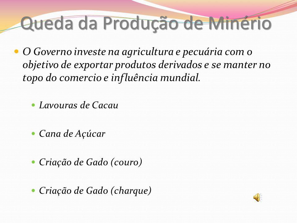 Queda da Produção de Minério Lavouras de Cacau Cana de Açúcar Criação de Gado (couro) Criação de Gado (charque) O Governo investe na agricultura e pec