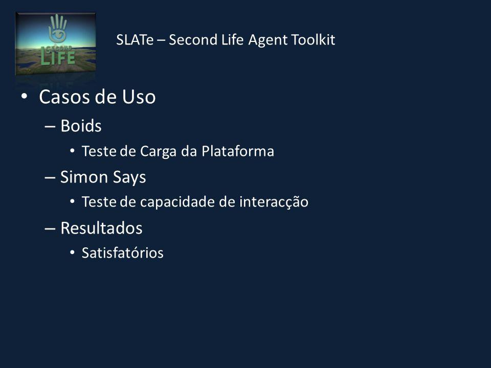 SLATe – Second Life Agent Toolkit Casos de Uso – Boids Teste de Carga da Plataforma – Simon Says Teste de capacidade de interacção – Resultados Satisfatórios