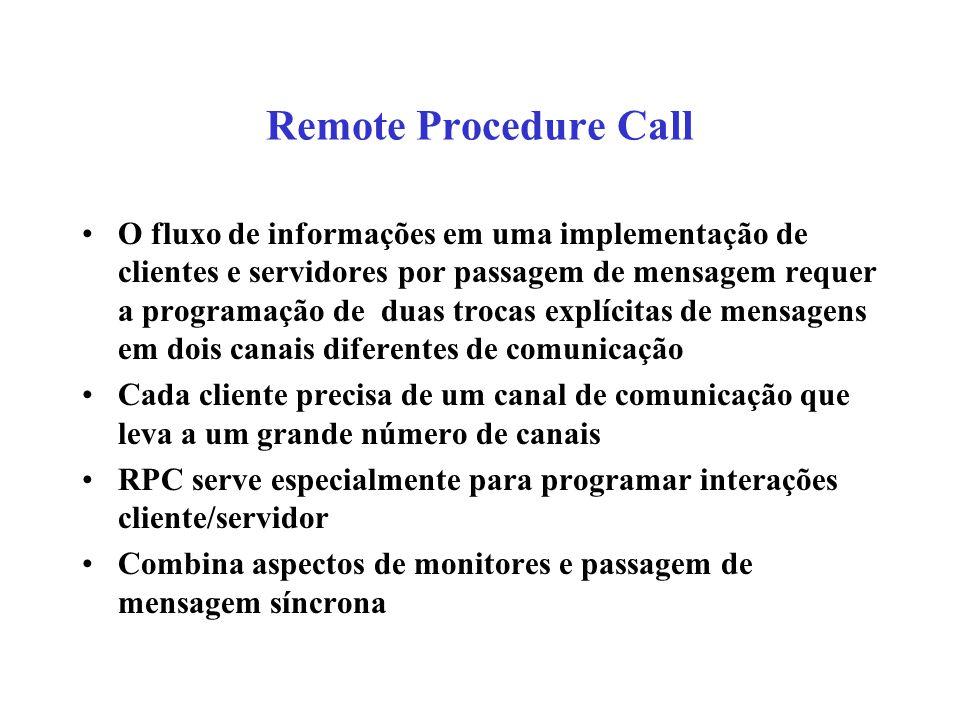 Remote Procedure Call O fluxo de informações em uma implementação de clientes e servidores por passagem de mensagem requer a programação de duas troca