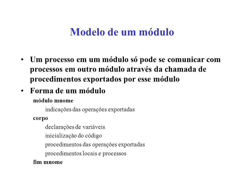 Modelo de um módulo Um processo em um módulo só pode se comunicar com processos em outro módulo através da chamada de procedimentos exportados por ess