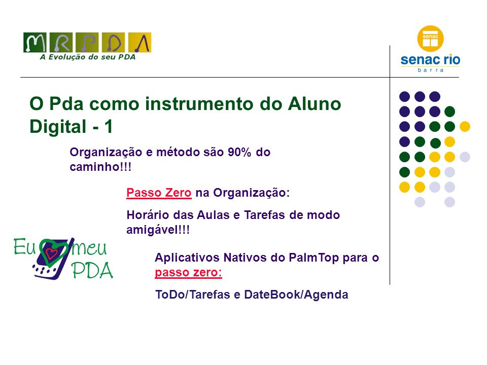 O Pda como instrumento do Aluno Digital - 2 Um exemplo (possível) de organização com o DateBook/Agenda: