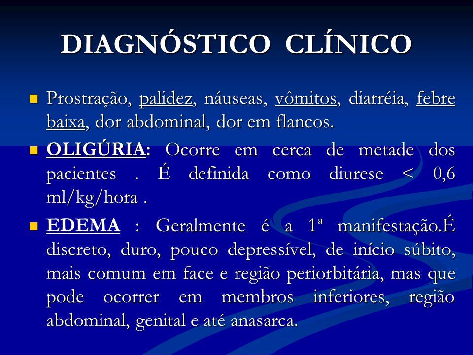 DIAGNÓSTICO CLÍNICO Prostração, palidez, náuseas, vômitos, diarréia, febre baixa, dor abdominal, dor em flancos. Prostração, palidez, náuseas, vômitos