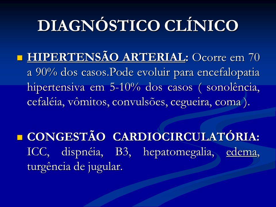 DIAGNÓSTICO CLÍNICO HIPERTENSÃO ARTERIAL: Ocorre em 70 a 90% dos casos.Pode evoluir para encefalopatia hipertensiva em 5-10% dos casos ( sonolência, c