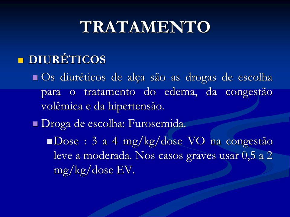TRATAMENTO DIURÉTICOS DIURÉTICOS Os diuréticos de alça são as drogas de escolha para o tratamento do edema, da congestão volêmica e da hipertensão. Os