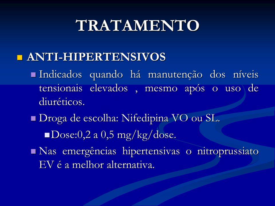 TRATAMENTO ANTI-HIPERTENSIVOS ANTI-HIPERTENSIVOS Indicados quando há manutenção dos níveis tensionais elevados, mesmo após o uso de diuréticos. Indica