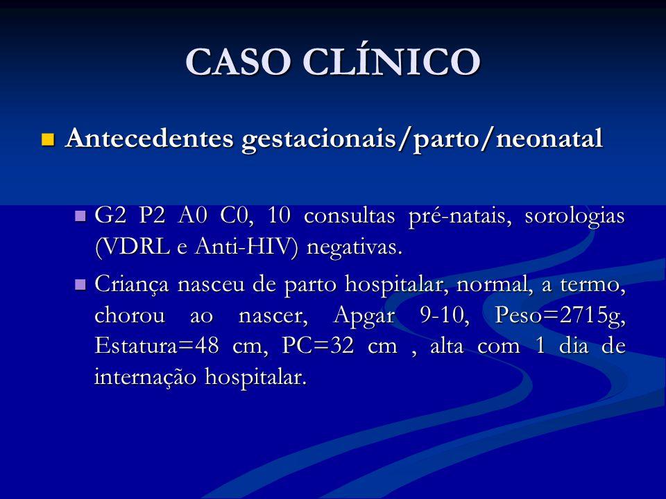 CASO CLÍNICO Antecedentes gestacionais/parto/neonatal Antecedentes gestacionais/parto/neonatal G2 P2 A0 C0, 10 consultas pré-natais, sorologias (VDRL