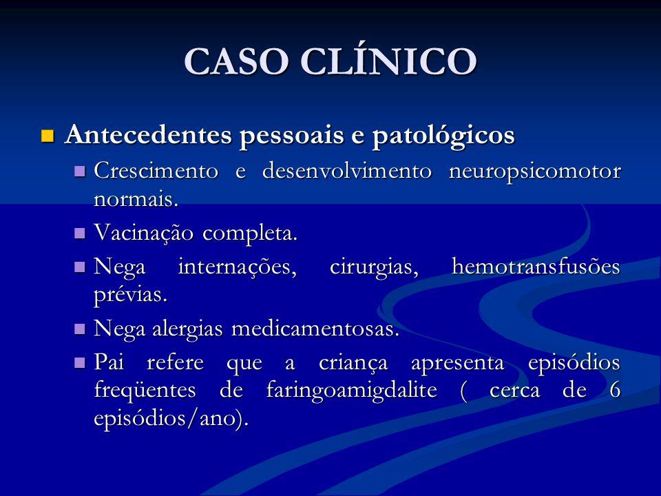 CASO CLÍNICO Antecedentes pessoais e patológicos Antecedentes pessoais e patológicos Crescimento e desenvolvimento neuropsicomotor normais. Cresciment
