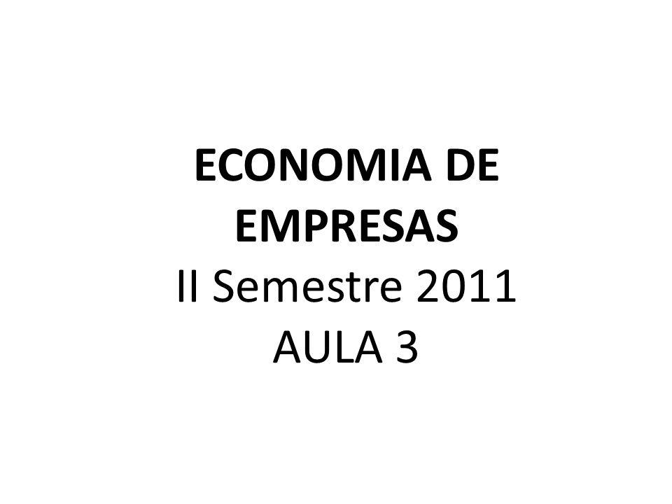 ECONOMIA DE EMPRESAS II Semestre 2011 AULA 3