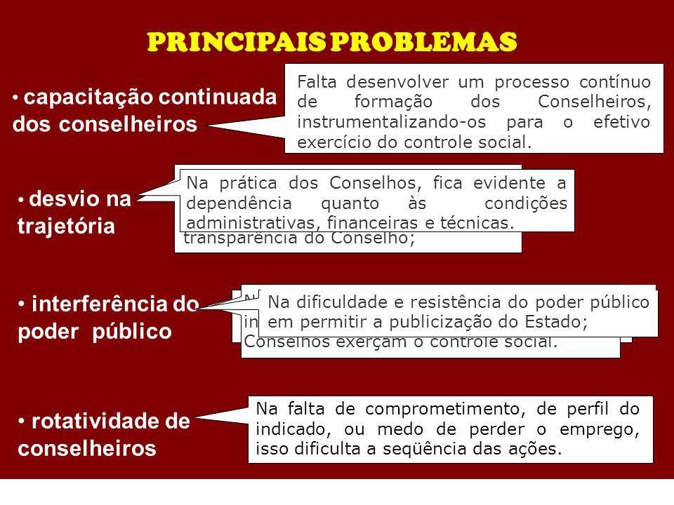PRINCIPAIS PROBLEMAS interferência do poder público Na falta de comprometimento, de perfil do indicado, ou medo de perder o emprego, isso dificulta a