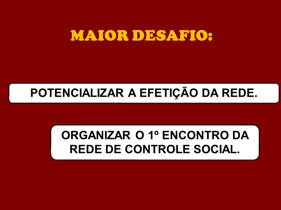 MAIOR DESAFIO: POTENCIALIZAR A EFETIÇÃO DA REDE. ORGANIZAR O 1º ENCONTRO DA REDE DE CONTROLE SOCIAL.