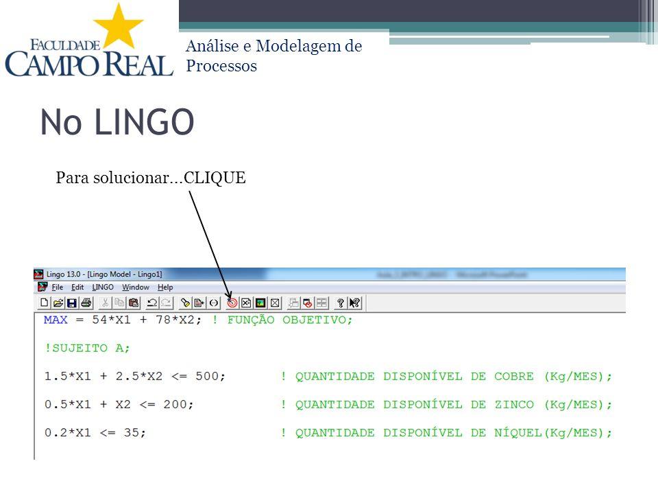 Análise e Modelagem de Processos No LINGO Para solucionar...CLIQUE