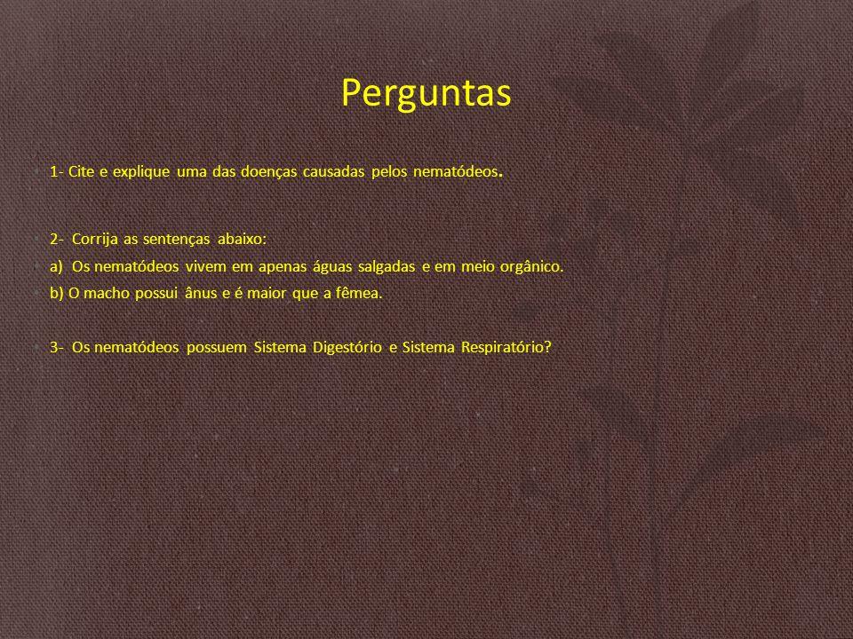 Perguntas 1- Cite e explique uma das doenças causadas pelos nematódeos.