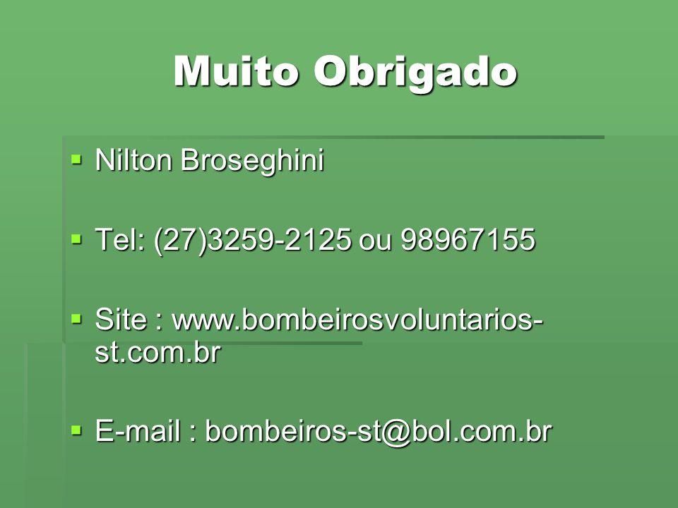 Muito Obrigado  Nilton Broseghini  Tel: (27)3259-2125 ou 98967155  Site : www.bombeirosvoluntarios- st.com.br  E-mail : bombeiros-st@bol.com.br