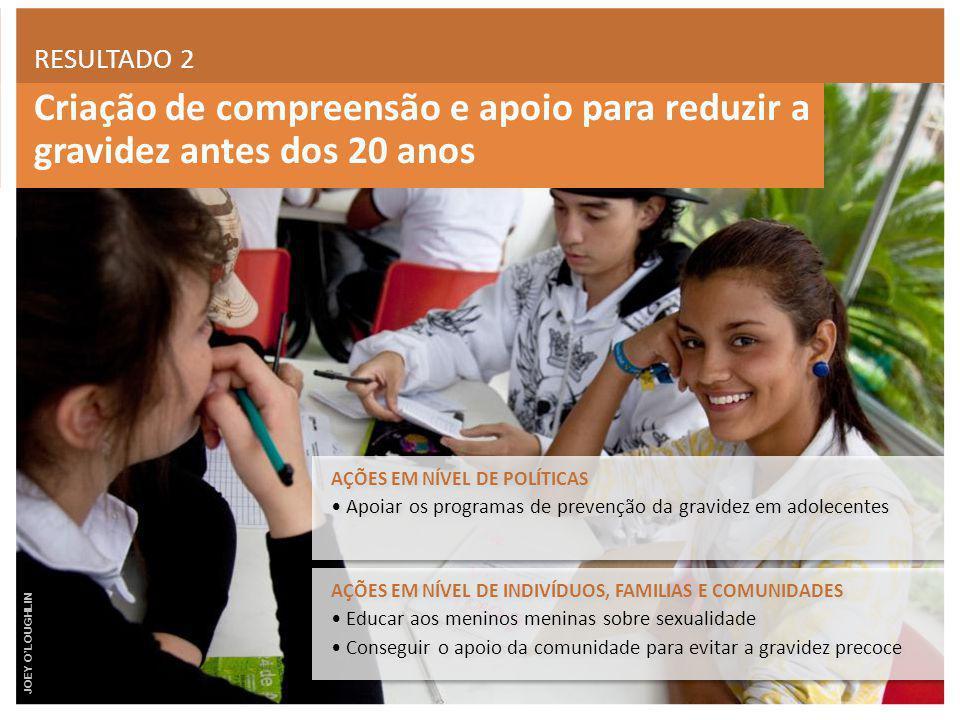 Criação de compreensão e apoio para reduzir a gravidez antes dos 20 anos RESULTADO 2 AÇÕES EM NÍVEL DE INDIVÍDUOS, FAMILIAS E COMUNIDADES Educar aos m