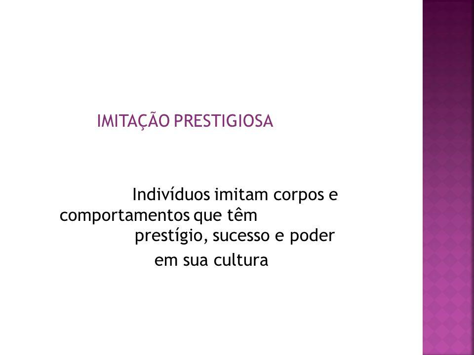 IMITAÇÃO PRESTIGIOSA Indivíduos imitam corpos e comportamentos que têm prestígio, sucesso e poder em sua cultura