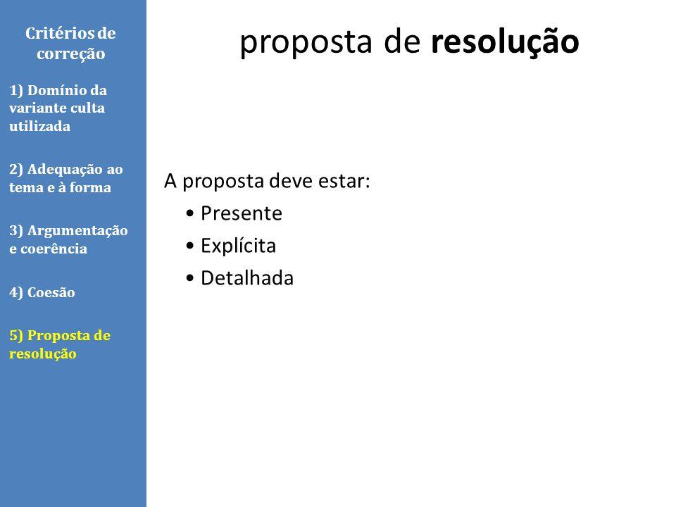A proposta deve estar: Presente Explícita Detalhada proposta de resolução Critérios de correção 1) Domínio da variante culta utilizada 2) Adequação ao