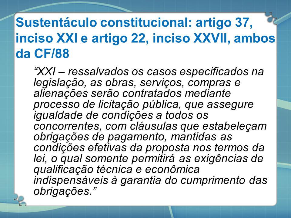 """Sustentáculo constitucional: artigo 37, inciso XXI e artigo 22, inciso XXVII, ambos da CF/88 """"XXI – ressalvados os casos especificados na legislação,"""