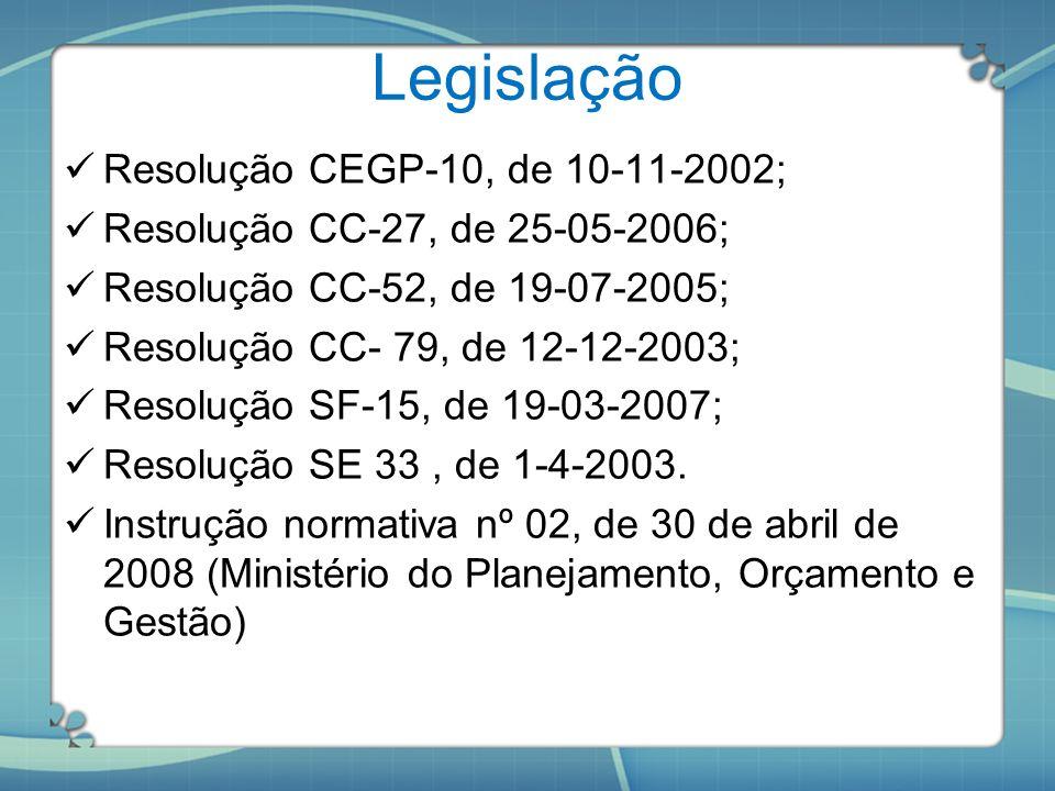 Legislação Resolução CEGP-10, de 10-11-2002; Resolução CC-27, de 25-05-2006; Resolução CC-52, de 19-07-2005; Resolução CC- 79, de 12-12-2003; Resoluçã