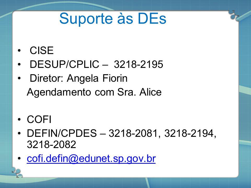 Suporte às DEs CISE DESUP/CPLIC – 3218-2195 Diretor: Angela Fiorin Agendamento com Sra. Alice COFI DEFIN/CPDES – 3218-2081, 3218-2194, 3218-2082 cofi.