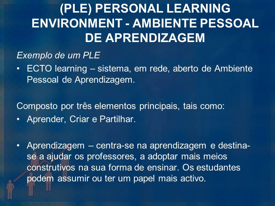 (PLE) PERSONAL LEARNING ENVIRONMENT - AMBIENTE PESSOAL DE APRENDIZAGEM Exemplo de um PLE ECTO learning – sistema, em rede, aberto de Ambiente Pessoal