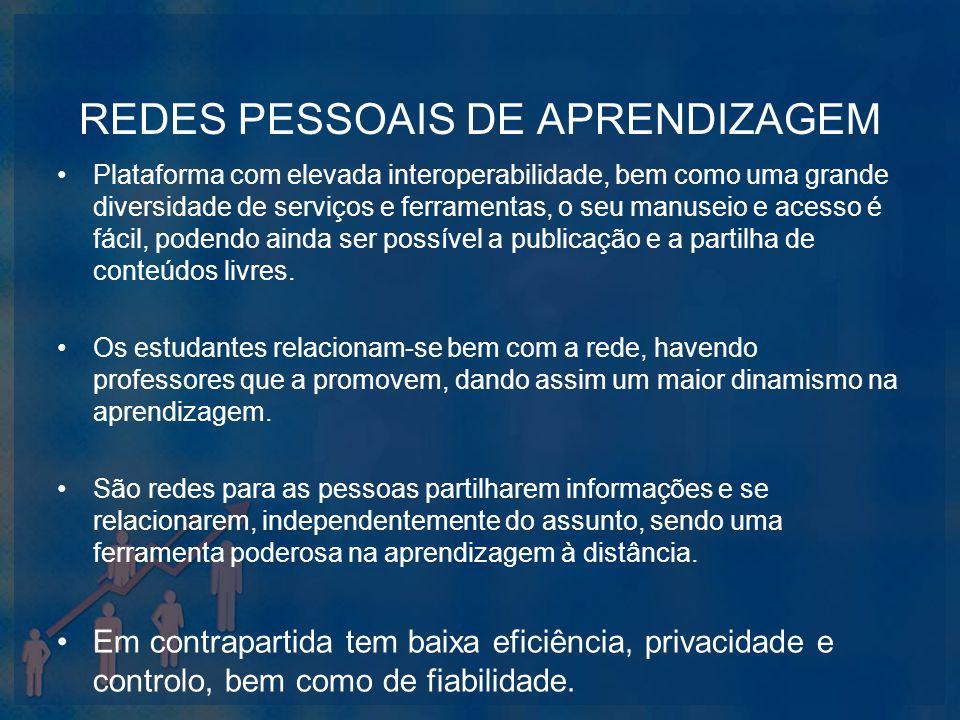 REDES PESSOAIS DE APRENDIZAGEM Plataforma com elevada interoperabilidade, bem como uma grande diversidade de serviços e ferramentas, o seu manuseio e