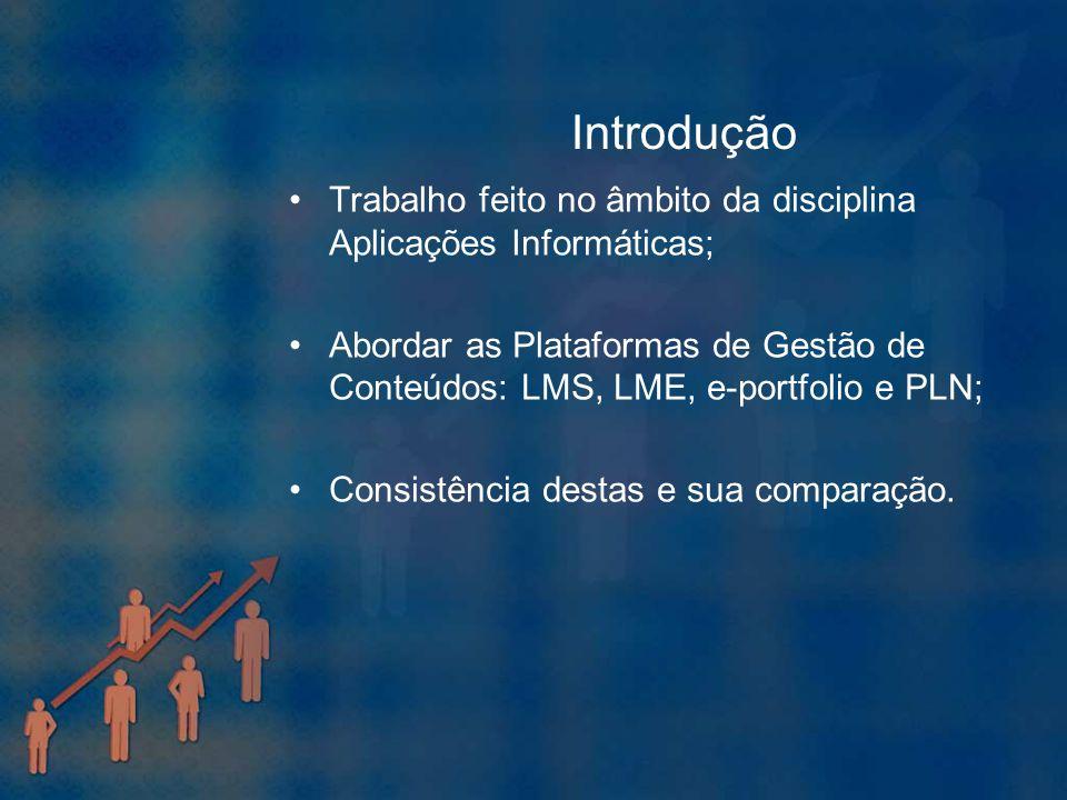Introdução Trabalho feito no âmbito da disciplina Aplicações Informáticas; Abordar as Plataformas de Gestão de Conteúdos: LMS, LME, e-portfolio e PLN;