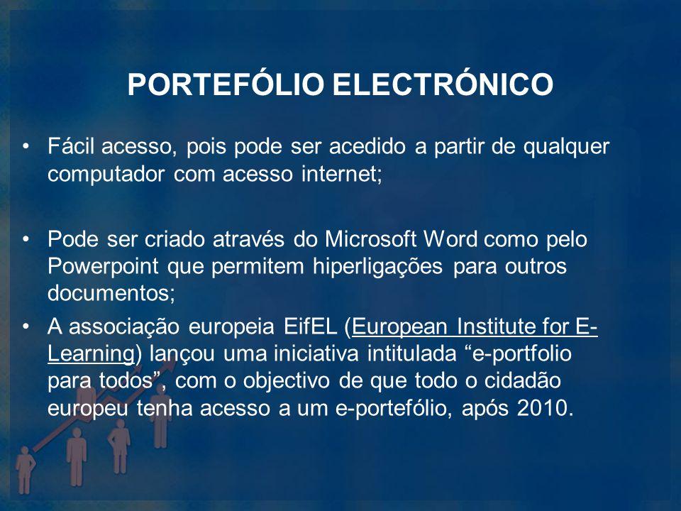 PORTEFÓLIO ELECTRÓNICO Fácil acesso, pois pode ser acedido a partir de qualquer computador com acesso internet; Pode ser criado através do Microsoft W