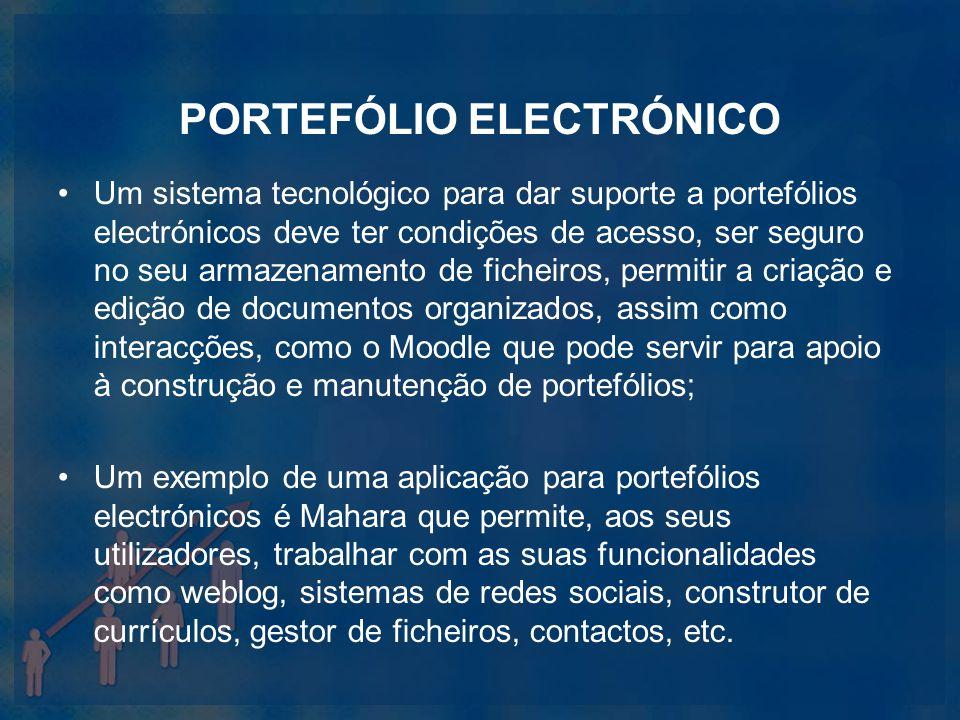 PORTEFÓLIO ELECTRÓNICO Um sistema tecnológico para dar suporte a portefólios electrónicos deve ter condições de acesso, ser seguro no seu armazenament