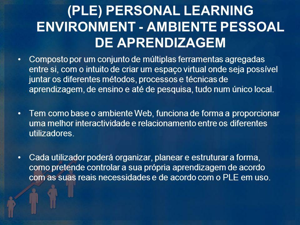 (PLE) PERSONAL LEARNING ENVIRONMENT - AMBIENTE PESSOAL DE APRENDIZAGEM Composto por um conjunto de múltiplas ferramentas agregadas entre si, com o int