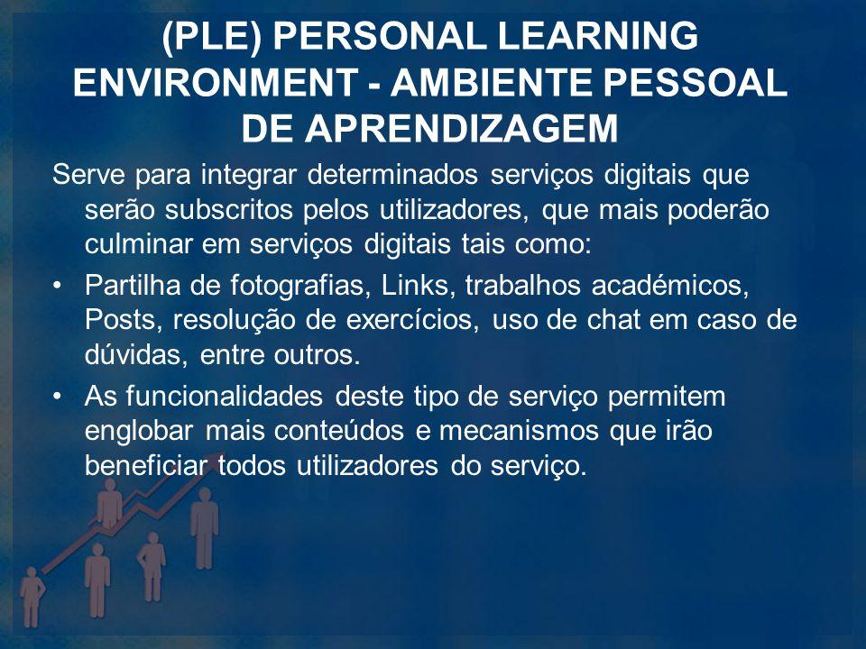 (PLE) PERSONAL LEARNING ENVIRONMENT - AMBIENTE PESSOAL DE APRENDIZAGEM Serve para integrar determinados serviços digitais que serão subscritos pelos u