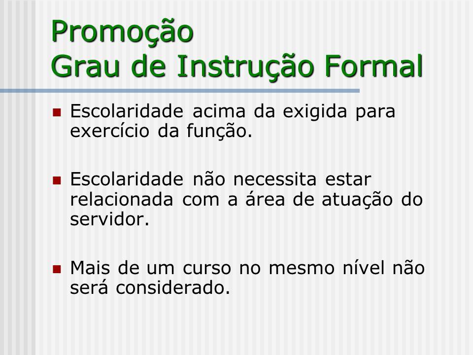 Promoção Grau de Instrução Formal Escolaridade acima da exigida para exercício da função.