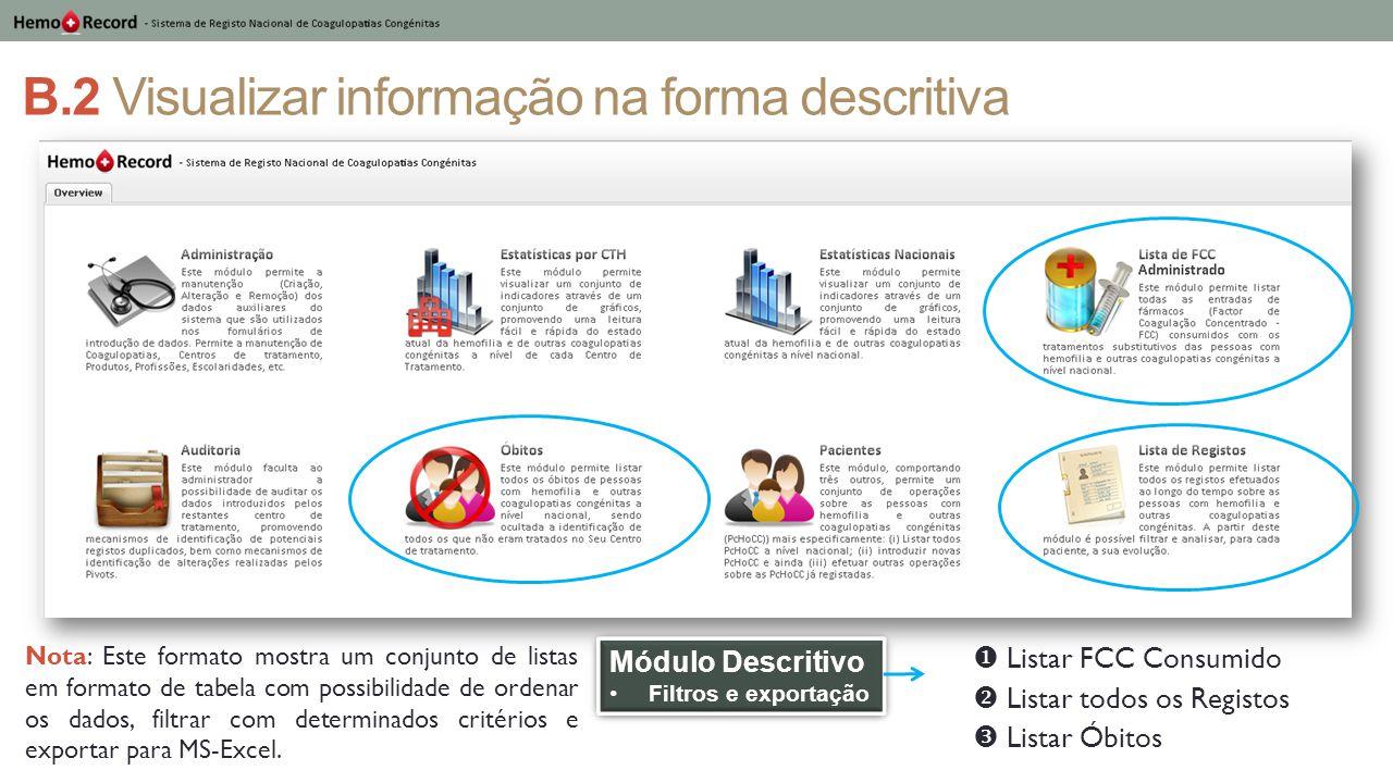 B.2 Visualizar informação na forma descritiva Módulo Descritivo Filtros e exportação Módulo Descritivo Filtros e exportação  Listar FCC Consumido  L