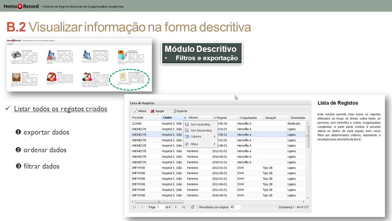 B.2 Visualizar informação na forma descritiva Módulo Descritivo Filtros e exportação Módulo Descritivo Filtros e exportação Listar todos os registos c