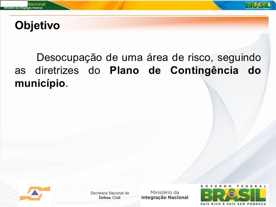Secretaria Nacional de Defesa Civil Objetivo Desocupação de uma área de risco, seguindo as diretrizes do Plano de Contingência do município.