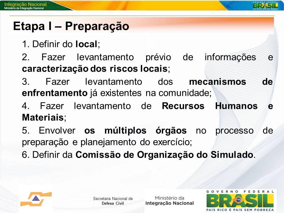 Secretaria Nacional de Defesa Civil 1. Definir do local; 2. Fazer levantamento prévio de informações e caracterização dos riscos locais; 3. Fazer leva