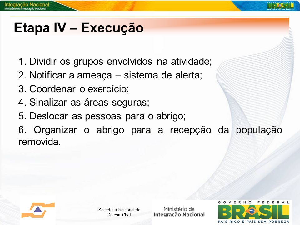 Secretaria Nacional de Defesa Civil 1. Dividir os grupos envolvidos na atividade; 2. Notificar a ameaça – sistema de alerta; 3. Coordenar o exercício;