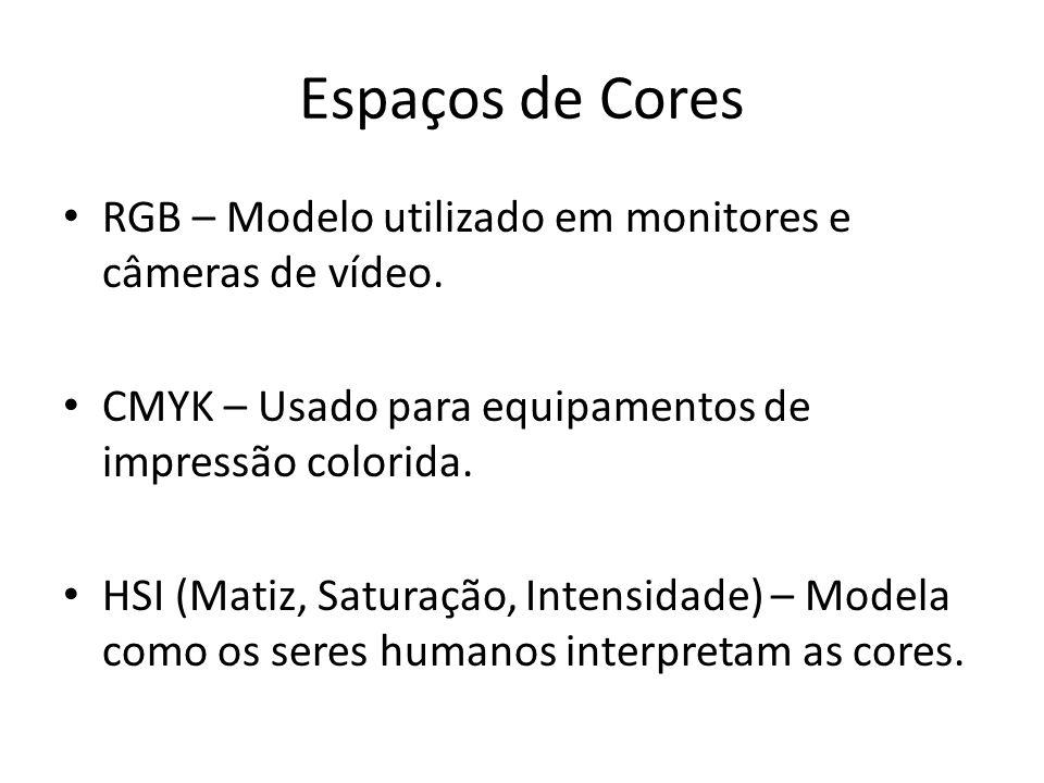 Espaços de Cores RGB – Modelo utilizado em monitores e câmeras de vídeo.