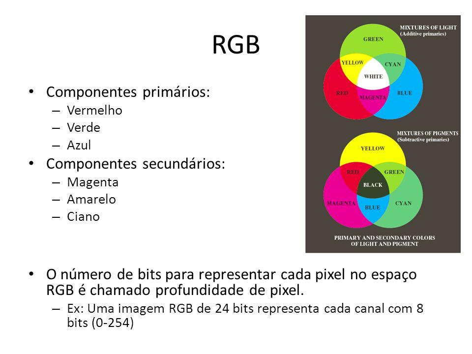 RGB Componentes primários: – Vermelho – Verde – Azul Componentes secundários: – Magenta – Amarelo – Ciano O número de bits para representar cada pixel no espaço RGB é chamado profundidade de pixel.