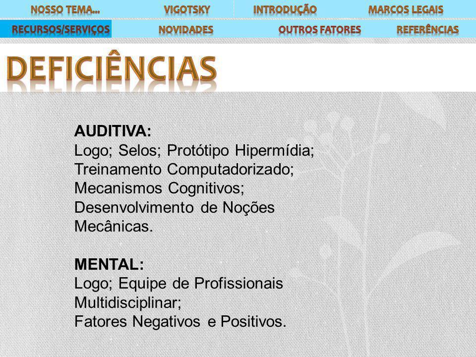 AUDITIVA: Logo; Selos; Protótipo Hipermídia; Treinamento Computadorizado; Mecanismos Cognitivos; Desenvolvimento de Noções Mecânicas. MENTAL: Logo; Eq