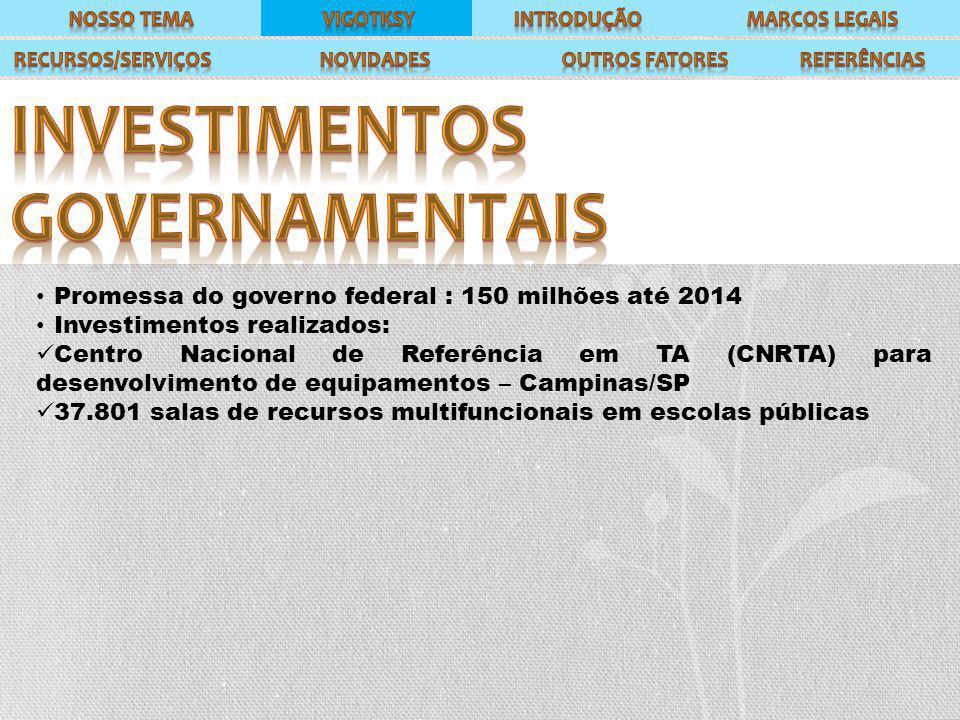 Promessa do governo federal : 150 milhões até 2014 Investimentos realizados: Centro Nacional de Referência em TA (CNRTA) para desenvolvimento de equipamentos – Campinas/SP 37.801 salas de recursos multifuncionais em escolas públicas