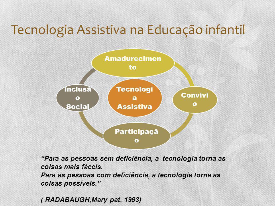 Tecnologia Assistiva na Educação infantil Tecnologi a Assistiva Amadurecimen to Convívi o Participaçã o Inclusã o Social Para as pessoas sem deficiência, a tecnologia torna as coisas mais fáceis.