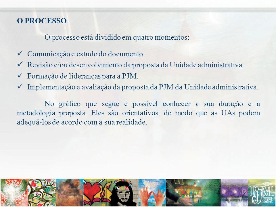O PROCESSO O processo está dividido em quatro momentos: Comunicação e estudo do documento. Revisão e/ou desenvolvimento da proposta da Unidade adminis