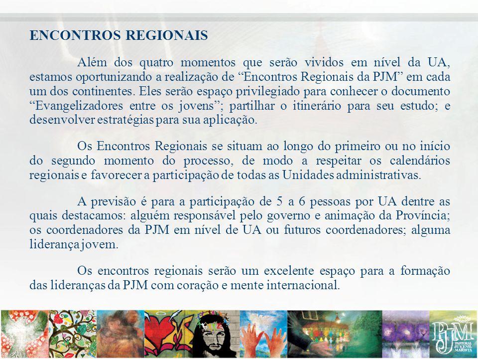 """ENCONTROS REGIONAIS Além dos quatro momentos que serão vividos em nível da UA, estamos oportunizando a realização de """"Encontros Regionais da PJM"""" em c"""