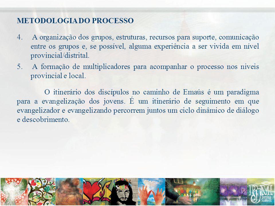 METODOLOGIA DO PROCESSO 4. A organização dos grupos, estruturas, recursos para suporte, comunicação entre os grupos e, se possível, alguma experiência