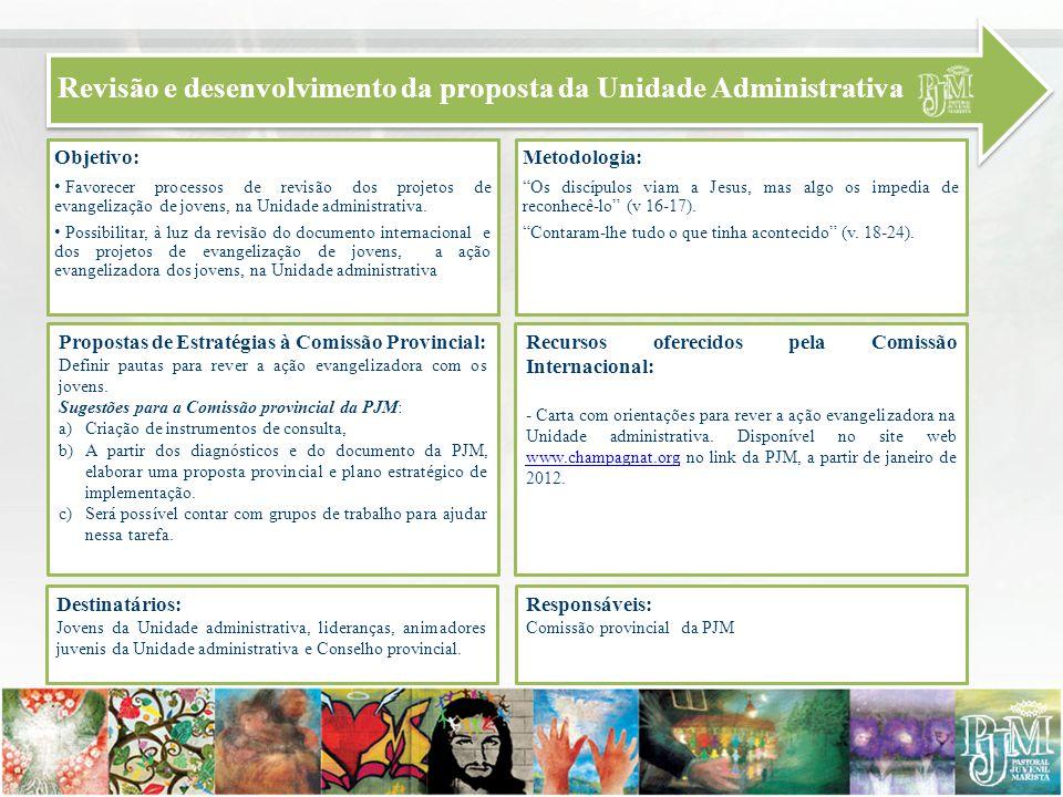 Revisão e desenvolvimento da proposta da Unidade Administrativa Objetivo: Favorecer processos de revisão dos projetos de evangelização de jovens, na U
