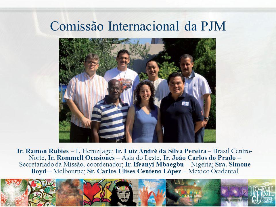 Comissão Internacional da PJM Ir. Ramon Rubies – L`Hermitage; Ir. Luiz André da Silva Pereira – Brasil Centro- Norte; Ir. Rommell Ocasiones – Ásia do