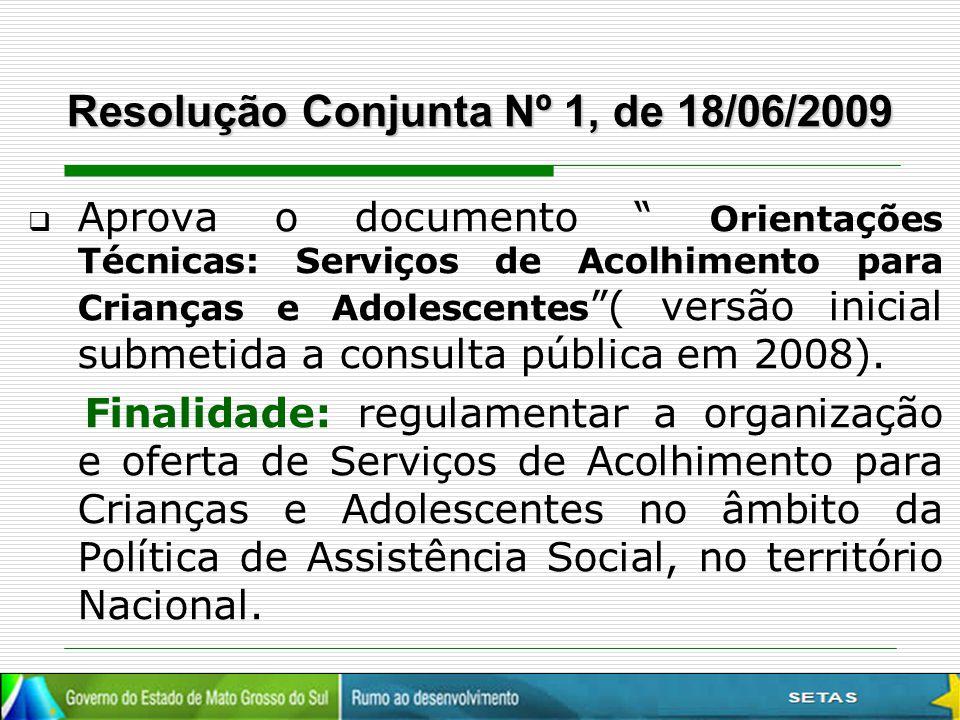 """Resolução Conjunta Nº 1, de 18/06/2009  Aprova o documento """" Orientações Técnicas: Serviços de Acolhimento para Crianças e Adolescentes """"( versão ini"""